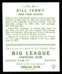 1933 Goudey Reprints #20  Bill Terry  Back Thumbnail