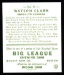 1933 Goudey Reprints #17  Watson Clark  Back Thumbnail
