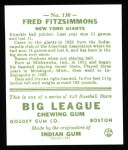 1933 Goudey Reprints #130  Fred Fitzsimmons  Back Thumbnail