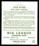 1933 Goudey Reprints #157  Sammy Byrd  Back Thumbnail