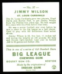 1933 Goudey Reprints #37  Jimmy Wilson  Back Thumbnail