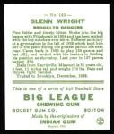 1933 Goudey Reprints #143  Glenn Wright  Back Thumbnail