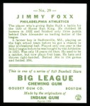 1933 Goudey Reprints #29  Jimmie Foxx  Back Thumbnail