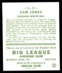1933 Goudey Reprints #81  Sam Jones  Back Thumbnail