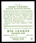 1933 Goudey Reprints #87  Frank O'Rourke  Back Thumbnail
