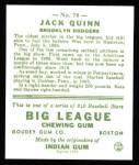 1933 Goudey Reprints #78  Jack Quinn  Back Thumbnail