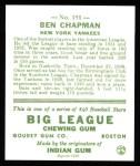 1933 Goudey Reprints #191  Ben Chapman  Back Thumbnail
