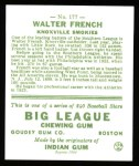 1933 Goudey Reprints #177  Walter French  Back Thumbnail