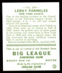 1933 Goudey Reprints #239  Leroy Parmelee  Back Thumbnail