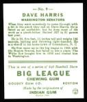 1933 Goudey Reprints #9  Dave Harris  Back Thumbnail