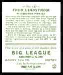1933 Goudey Reprints #133  Freddy Lindstrom  Back Thumbnail