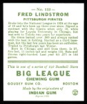 1933 Goudey Reprints #133  Freddy Lindstrom  Back Thumbnail