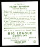 1933 Goudey Reprints #14  Henry Johnson  Back Thumbnail