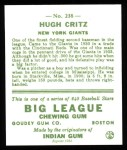 1933 Goudey Reprints #238  Hughie Critz  Back Thumbnail