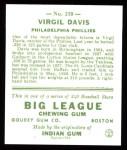 1933 Goudey Reprints #210  Virgil Davis  Back Thumbnail