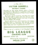 1933 Goudey Reprints #15  Vic Sorrell  Back Thumbnail