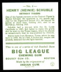 1933 Goudey Reprints #4  Heinie Schuble  Back Thumbnail