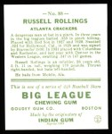 1933 Goudey Reprints #88  Russell Rollings  Back Thumbnail