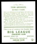 1933 Goudey Reprints #199  Tommy Bridges  Back Thumbnail