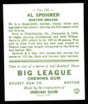 1933 Goudey Reprints #161  Al Spohrer  Back Thumbnail