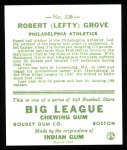 1933 Goudey Reprints #220  Lefty Grove  Back Thumbnail