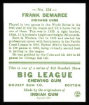 1933 Goudey Reprints #224  Frank Demaree  Back Thumbnail