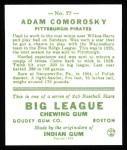 1933 Goudey Reprints #77  Adam Comorosky  Back Thumbnail