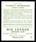 1933 Goudey Reprints #222  Charlie Gehringer  Back Thumbnail