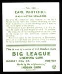 1933 Goudey Reprints #124  Earl Whitehill  Back Thumbnail