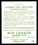 1933 Goudey Reprints #22  Pie Traynor  Back Thumbnail