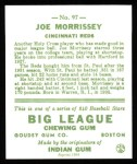 1933 Goudey Reprints #97  Joe Morrissey  Back Thumbnail