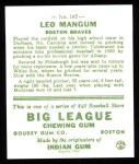 1933 Goudey Reprints #162  Leo Mangum  Back Thumbnail