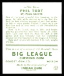 1933 Goudey Reprints #86  Phil Todt  Back Thumbnail