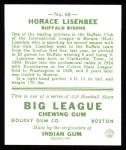 1933 Goudey Reprints #68  Horace Lisenbee  Back Thumbnail