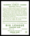 1933 Goudey Reprints #174  Warren Ogden  Back Thumbnail