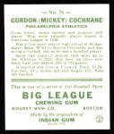 1933 Goudey Reprints #76  Mickey Cochrane  Back Thumbnail