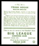 1933 Goudey Reprints #30  Frank Hogan  Back Thumbnail