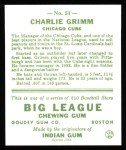 1933 Goudey Reprints #51  Charlie Grimm  Back Thumbnail