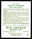 1933 Goudey Reprints #102  Travis Jackson  Back Thumbnail