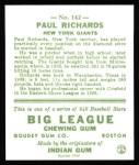 1933 Goudey Reprints #142  Paul Richards  Back Thumbnail