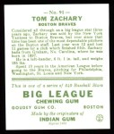 1933 Goudey Reprints #91  Tom Zachary  Back Thumbnail
