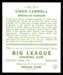 1933 Goudey Reprints #72  Owen Carroll  Back Thumbnail
