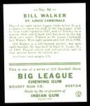 1933 Goudey Reprints #94  Bill Walker  Back Thumbnail