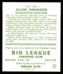 1933 Goudey Reprints #122  Alvin Crowder  Back Thumbnail
