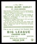 1933 Goudey Reprints #140  Bump Hadley  Back Thumbnail