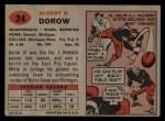 1957 Topps #24   Al Dorow Back Thumbnail