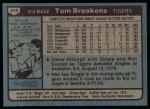 1980 Topps #416  Tom Brookens   Back Thumbnail