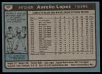 1980 Topps #101  Aurelio Lopez  Back Thumbnail