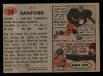 1957 Topps #74   Leo Sanford Back Thumbnail