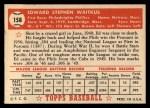 1952 Topps #158  Eddie Waitkus  Back Thumbnail